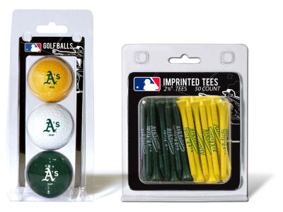 Oakland Athletics Team Golf 3 Golf Balls And 50 Golf Tees Set