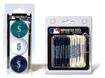 Seattle Mariners Team Golf 3 Golf Balls And 50 Golf Tees Set