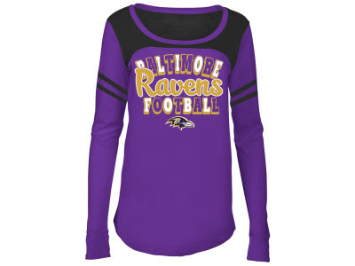 Baltimore Ravens 5th & Ocean NFL Youth Girls Sleeve Stripe Long Sleeve T-Shirt