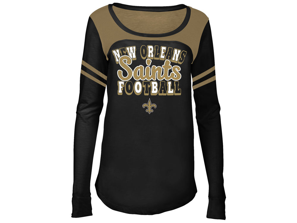 56b5a2784 New Orleans Saints 5th   Ocean NFL Youth Girls Sleeve Stripe Long Sleeve T- Shirt