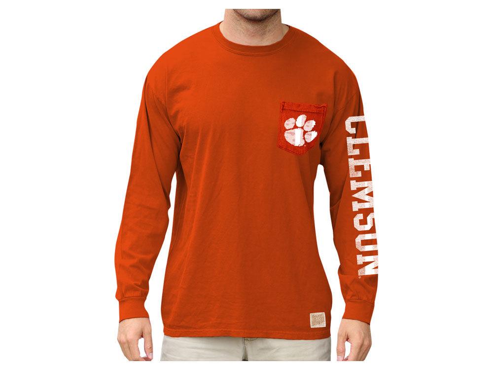 Clemson Tigers Retro Brand NCAA Men s Heavy Weight Long Sleeve Pocket T- Shirt  474325318