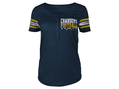 Los Angeles Chargers 5th & Ocean NFL Women's Short Sleeve Button Down T-Shirt