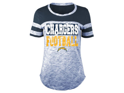 Los Angeles Chargers 5th & Ocean NFL Women's Spacedye Sleeve Stripe T-Shirt