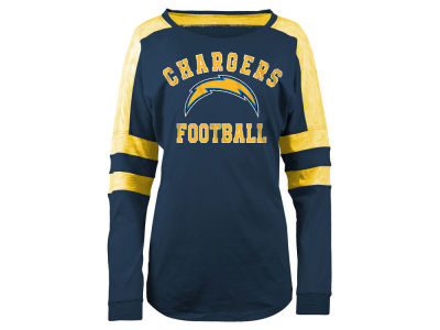 Los Angeles Chargers 5th & Ocean NFL Women's Colorblock Long Sleeve T-Shirt