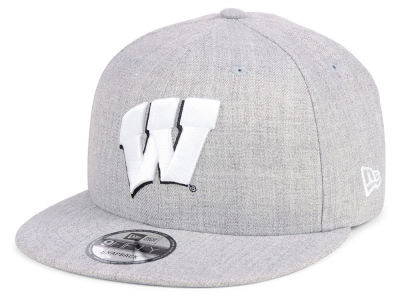 Wisconsin Badgers New Era NCAA Heather Gray 9FIFTY Snapback Cap