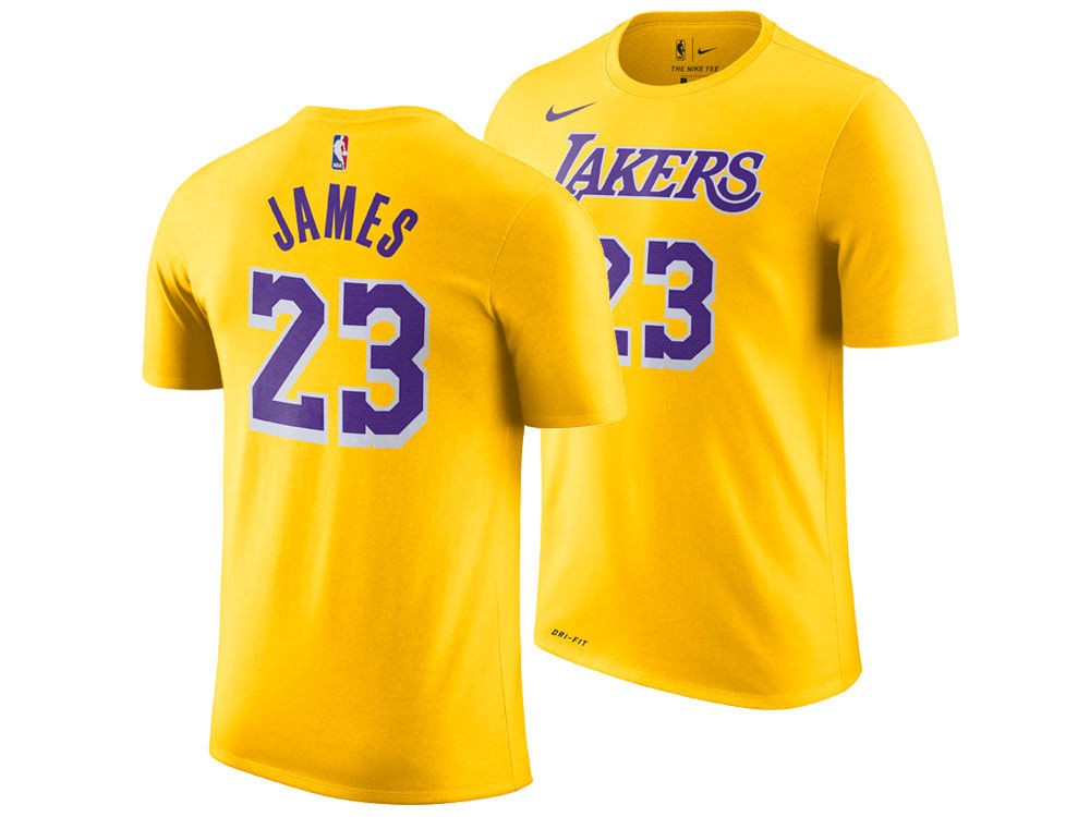 Los Angeles Lakers LeBron James Nike NBA Kids Icon Replica Name and Number T -Shirt  fbe83ac63