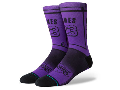 Los Angeles Lakers LeBron James Stance NBA LBJ Crew Sock