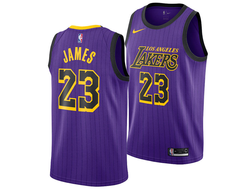 b5ffb4c22 Los Angeles Lakers LeBron James Nike 2018 NBA Men s City Swingman Jersey