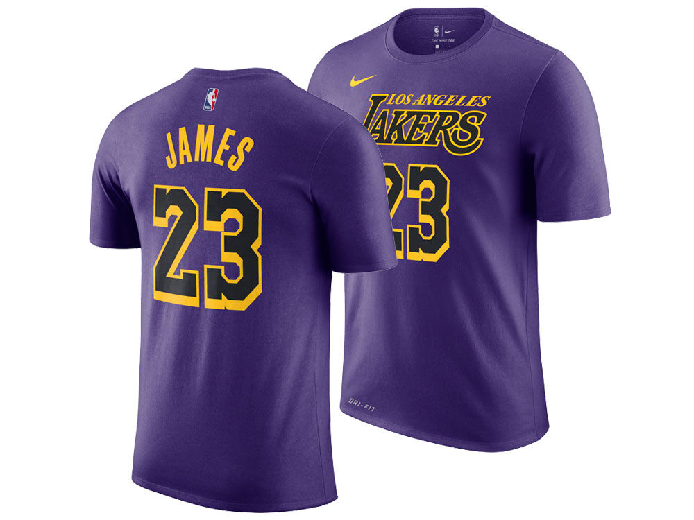 Los Angeles Lakers LeBron James Nike 2018 NBA Men s City Player T-shirt  684bc645b