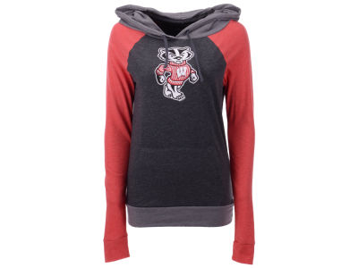 Wisconsin Badgers 5th & Ocean NCAA Women's Big Logo Raglan Hooded Sweatshirt