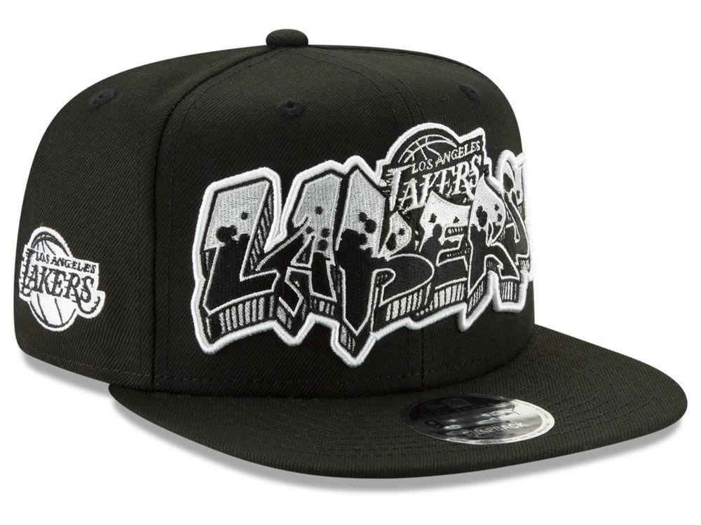 Los Angeles Lakers New Era NBA Retroword Black White 9FIFTY Snapback Cap  85ab6be63627