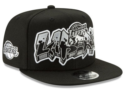 Los Angeles Lakers New Era NBA Retroword Black White 9FIFTY Snapback Cap
