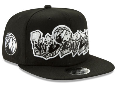 Minnesota Timberwolves New Era NBA Retroword Black White 9FIFTY Snapback Cap