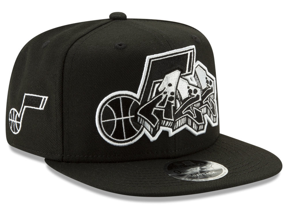 eaf041bd367 Utah Jazz New Era NBA Retroword Black White 9FIFTY Snapback Cap ...