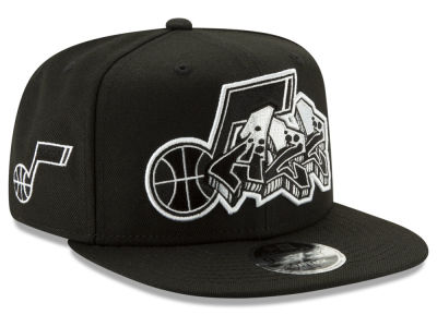 Utah Jazz New Era NBA Retroword Black White 9FIFTY Snapback Cap