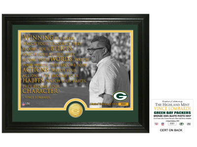 "Green Bay Packers Vince Lombardi Highland Mint ""Quote"" Silver Coin Photo Mint"