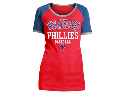 Philadelphia Phillies 5th & Ocean MLB Women's Crew Colorblock T-shirt