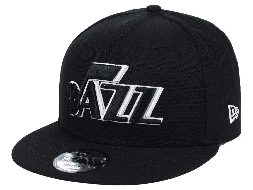 Utah Jazz New Era NBA Black White 9FIFTY Snapback Cap  0f4a59ff6