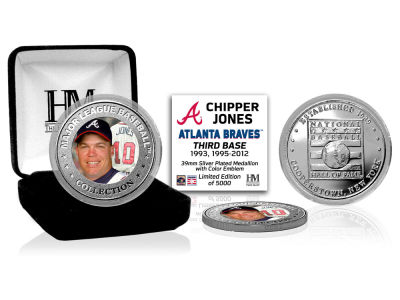Atlanta Braves Chipper Jones Highland Mint MLB Baseball Hall of Fame Silver Color Coin