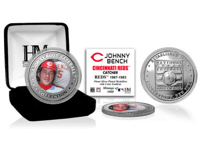 Cincinnati Reds Johnny Bench Highland Mint MLB Baseball Hall of Fame Silver Color Coin