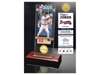 Atlanta Braves Chipper Jones Highland Mint MLB Hall of Fame Ticket & Bronze Coin Acrylic Desk Top