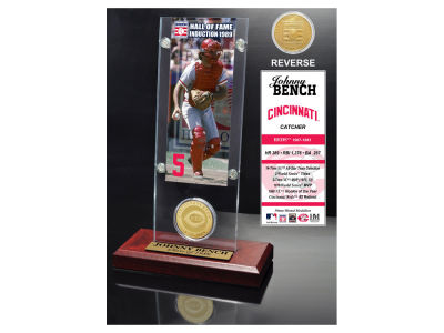 Cincinnati Reds Johnny Bench Highland Mint MLB Hall of Fame Ticket & Bronze Coin Acrylic Desk Top