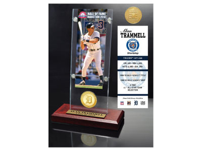 Detroit Tigers Alan Trammell Highland Mint MLB Hall of Fame Ticket & Bronze Coin Acrylic Desk Top