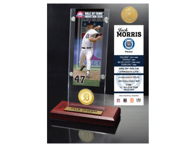 Detroit Tigers Jack Morris Highland Mint MLB Hall of Fame Ticket & Bronze Coin Acrylic Desk Top