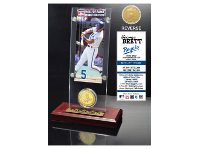 Kansas City Royals George Brett Highland Mint MLB Hall of Fame Ticket & Bronze Coin Acrylic Desk Top