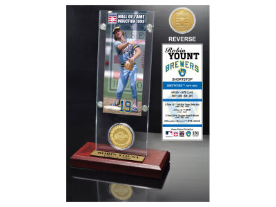 Milwaukee Brewers Robin Yount Highland Mint MLB Hall of Fame Ticket & Bronze Coin Acrylic Desk Top