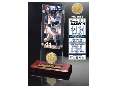 New York Yankees Reggie Jackson Highland Mint MLB Hall of Fame Ticket & Bronze Coin Acrylic Desk Top