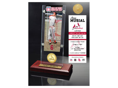 St. Louis Cardinals Stan Musial Highland Mint MLB Hall of Fame Ticket & Bronze Coin Acrylic Desk Top