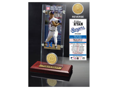 Texas Rangers Nolan Ryan Highland Mint MLB Hall of Fame Ticket & Bronze Coin Acrylic Desk Top