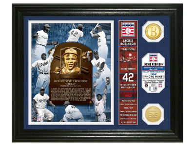Brooklyn Dodgers Jackie Robinson Highland Mint MLB Hall of Fame Banner Bronze Coin Photo Mint