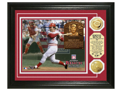 Cincinnati Reds Johnny Bench Highland Mint MLB Hall of Fame Banner Bronze Coin Photo Mint