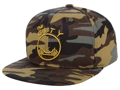 Golden State Warriors Mitchell   Ness NBA Camo Neon Snapback Cap e63482da36a9