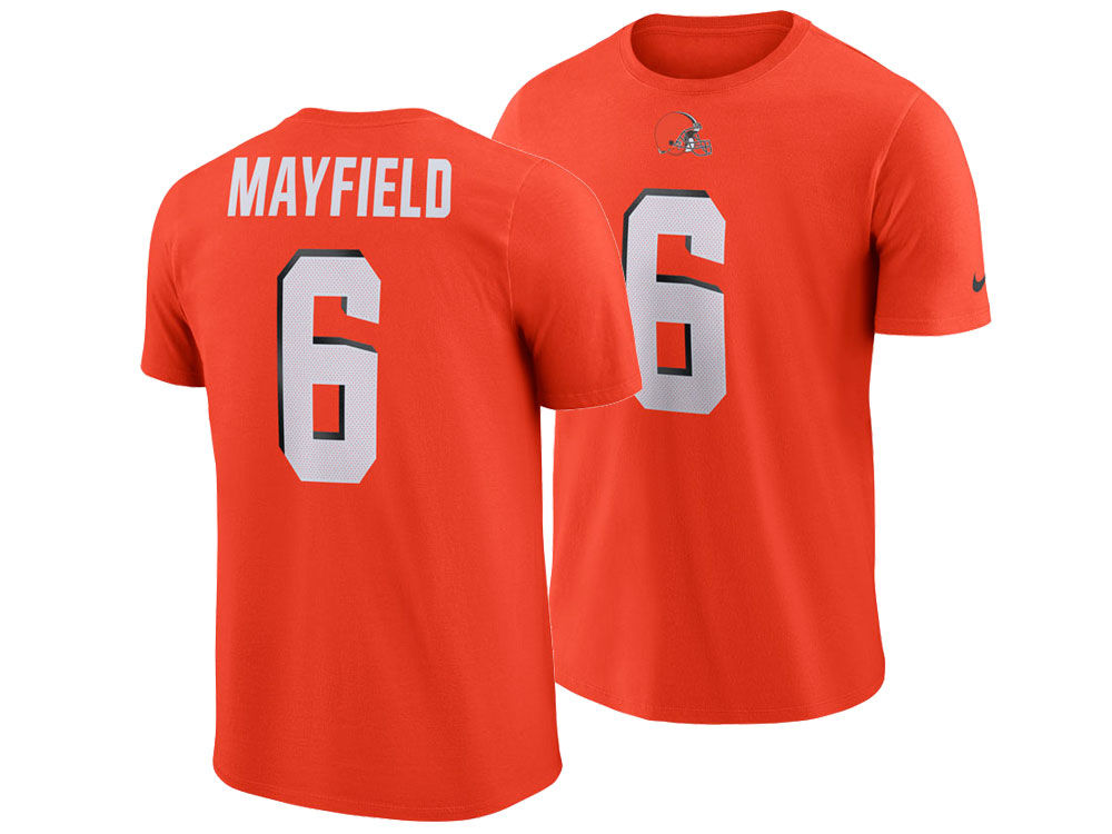 Cleveland Browns Baker Mayfield Nike NFL Men s Player Pride Name and Number  Logo 3.0 T-Shirt  5ad0fcb2b