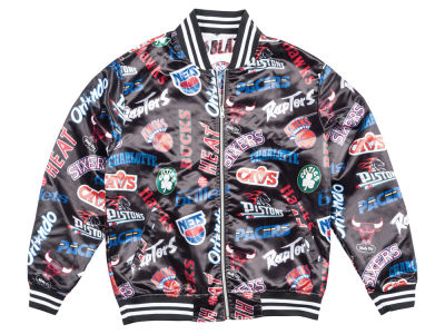 NBA Logo Mitchell & Ness Men's ALL Over Collection Satin Jacket