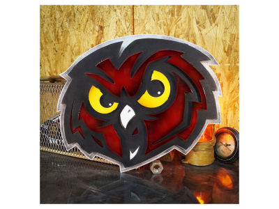 "Temple Owls Hex Head Art 20"" x 17"" Logo Artwork"