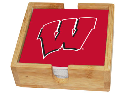 Wisconsin Badgers Memory Company Square Coaster Set w/ Caddy