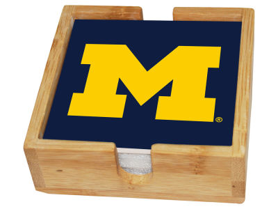 Michigan Wolverines Memory Company Square Coaster Set w/ Caddy