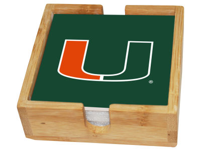 Miami Hurricanes Memory Company Square Coaster Set w/ Caddy