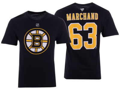 Boston Bruins Brad Marchand NHL Men's Authentic Stack Name & Number T-Shirt