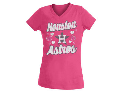 Houston Astros 5th & Ocean MLB Youth Girls Hearts V-Neck T-Shirt