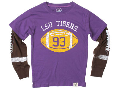 LSU Tigers Wes and Willy NCAA Toddler Football Sleeve 2 In 1 T-Shirt