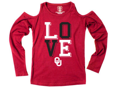 Oklahoma Sooners Wes and Willy NCAA Kids Girls Cold Shoulder Long Sleeve T-Shirt