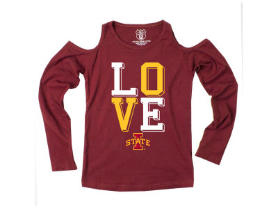 Iowa State Cyclones Wes and Willy NCAA Kids Girls Cold Shoulder Long Sleeve T-Shirt