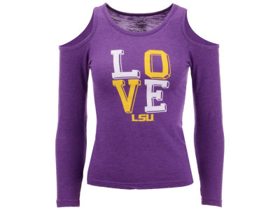 LSU Tigers Wes and Willy NCAA Kids Girls Cold Shoulder Long Sleeve T-Shirt