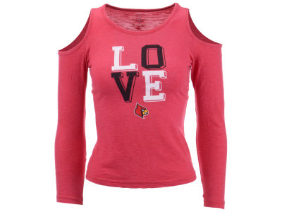 Louisville Cardinals Wes and Willy NCAA Kids Girls Cold Shoulder Long Sleeve T-Shirt
