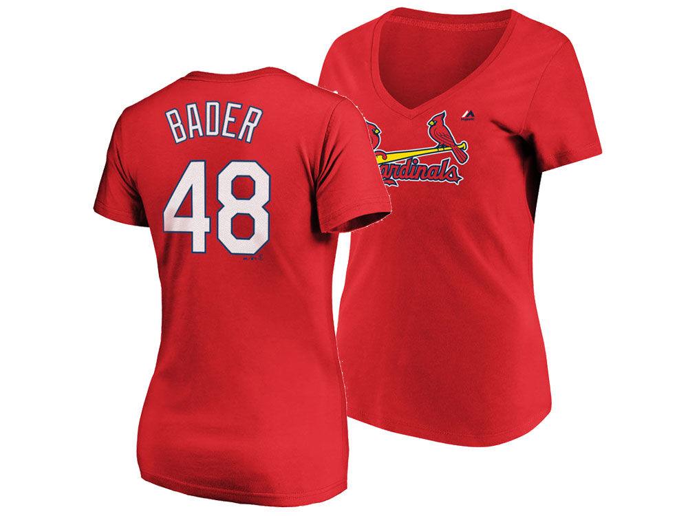 St. Louis Cardinals Harrison Bader Majestic MLB Women s Crew Player T-Shirt   831438013